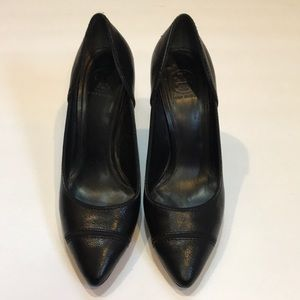 Tory Burch Bernice black heels with logo on heel 7
